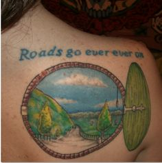 Beautiful Hobbit tattoo (based on a song/poem from the book.) #literary_tattoos #tolkien