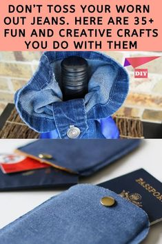 Sewing Hacks, Sewing Crafts, Diy Crafts, Recycled Denim, Recycled Crafts, Repurpose, Reuse, Craft Projects, Sewing Projects