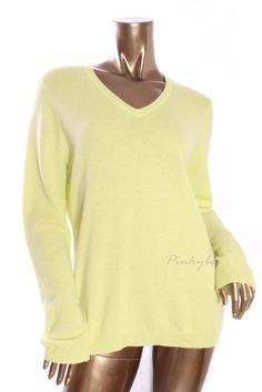 CHARTER CLUB Womens New $139 100% Cashmere V-Neck Long Sleeve Sweater Size L #CharterClub #VNeck