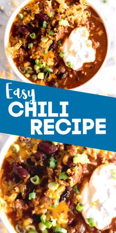 Quick and filling! This easy chili recipe can be made in the slow cooker or as a one pot 30 minute meal. Loaded with beef, beans, chiles and more this hearty chili is perfect for loading up with all your favorite toppings. Chili Recipes, Slow Cooker Recipes, Gourmet Recipes, Mexican Food Recipes, Crockpot Recipes, Soup Recipes, Healthy Recipes, Smoothie Recipes, Best Comfort Food