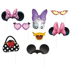 Minnie Mouse Photo Booth Props 8pc Birthday Party Supplies