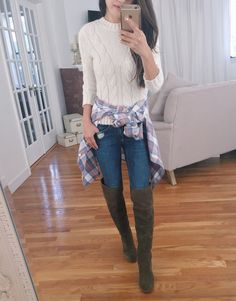 fall outfit idea OTK boots cable sweater plaid shirt
