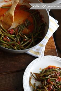 """""""When Tim makes Italian-style green beans, he thinks of his grandma Emily, a beautiful Italian woman with short white hair and smiling blue eyes, who still explains recipes with a flick of her wrist and an """"Oh, it's so simple!"""" When I make Italian-style green beans, I think of Tim."""" #greenbeans #vegetarian #recipe"""