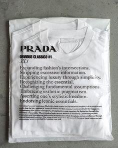 Prada t-shirt 3 pack Shirt Packaging, Clothing Packaging, Fashion Packaging, Brand Packaging, Title Block, Prada, Plastic Design, Margiela, Gianmarco Lorenzi