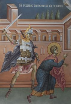 Το Μαρτύριο του Αγίου Γεωργίου / The Martyrdom of Saint George Byzantine Icons, Orthodox Christianity, Orthodox Icons, Religious Art, Fresco, Princess Zelda, Drawings, Painting, Fictional Characters
