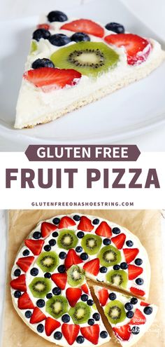 This recipe is as easy as it is eye catching! Beautiful and fun to make, this gluten free fruit pizza is a great dish for dessert or to bring to a potluck! Made with an easy cookie crust, covered with a whipped cream cheese filling and then topped Dessert Pizza, Pizza Fruit, Bon Dessert, Fruit Pizza Recipes, Pizza Sans Gluten, Dessert Sans Gluten, Gluten Free Sweets, Gluten Free Cooking, Gluten Free Potluck