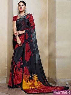 Maroon & Black Crepe Silk Beautiful Printed Sobar Saree