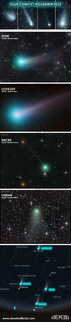"4 Comets - ""ISON"", ""Lovejoy"",  ""Encke"" & ""Linear"""