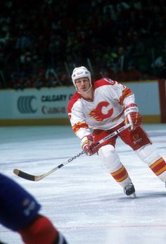 Joe Mullen of the Calgary Flames skates on the ice during the 1989 Stanley Cup Finals against the Montreal Canadiens in May 1989 at the Olympic...