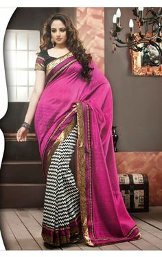 Picture of Awesome fuschia pink and white Silk Saree