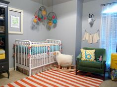 Really cool, little room for a baby boy. Love the pretty colors and the mobile!