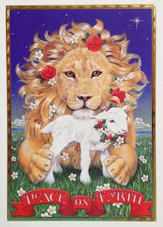 "Lion & Lamb Christmas card by Sunrise Publications. Inside message = ""May the gift of Christmas bless each heart with peace and love."""