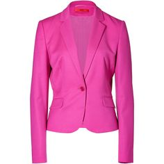 HUGO Dark Pink Wool Stretch Afiraly One Button Jacket ($470) ❤ liked on Polyvore