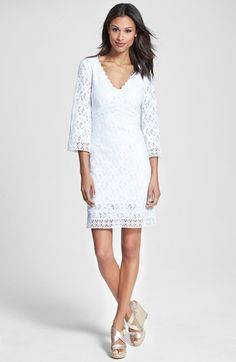 Laundry by Shelli Segal Back Cutout Lace Shift Dress (Regular & Petite) available at #Nordstrom