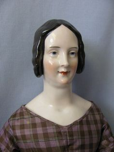"25"" Antique China Head KPM Doll Eagle c1840 BROWN Braided Bun HAIR Pink-Tint!!"