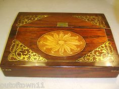 Antique Rosewood Boulle Writing Slope Box , Brass inlaid | eBay