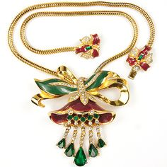 Coro Gold and Enamel Lotus Flower Necklace