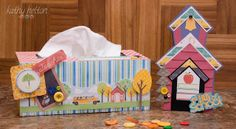 Kathy does it again, intermixing the perfect patterned papers for the Tissue Box which you can find in BACK TO THE BOOKS SVG KIT!   The cute Schoolhouse card is from MISS BAKER'S CLASSROOM SVG KIT and makes the perfect companion to the box!  What a great gift for a special teacher!