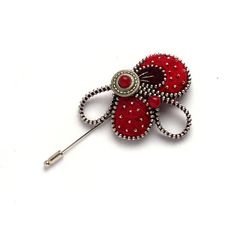 Unusual Zipper Pin Brooch Red and Maroon Felt Pin by PinkiWorld