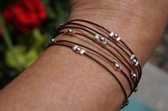 Bohemian Silver and Endless Leather Wrap Bracelet by fleurdesignz, $22.00