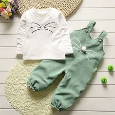 Baby Girl Clothes 2017 Cute Long Sleeved T shirt Tops Corduroy Overalls Children s Outfits Kids. Click visit to buy #BabyBoyClothingSets #ChildrenOveralls #BabygirlOveralls