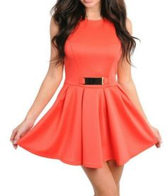 Fun and Flirty ♡ Jersey Style Skater Dress in Orange  Www.dreamgirlcouture.com