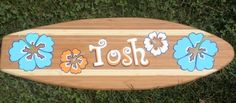 Bamboo surfboard personalized with name + colors | surfboardbeachart - Art & Collectibles on ArtFire
