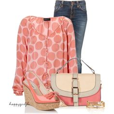 LESS IS MORE ~ PEACHES & CREAM by happygirljlc on Polyvore featuring Nudie Jeans Co., L.K.Bennett, Warehouse and Expresso