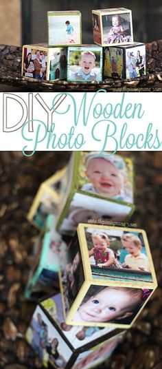 These DIY photo blocks make adorable decor and the kids can play with them all day long! Such an easy  practical craft!