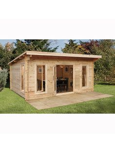 The Mendip is our largest contemporary styled log cabin in our highest specification finish. It is manufactured from smooth planed interlocking logs and is double glazed throughout. Backyard Office, Backyard Studio, Backyard Sheds, Garden Studio, Diy Storage Shed, Diy Shed, Tote Storage, Shed Design, Tiny House Design