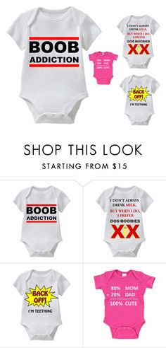 """BOOB Addiction_Funny Baby Tee Collection_White Tee"" by funnybabytees on Polyvore"