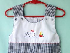 Vintage Baby Boy's Navy and White Gingham by StarrChildVintage, $18.00