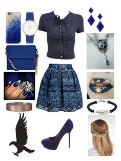 """""""Ravenclaw #1"""" by bringcolortomyskies ❤ liked on Polyvore featuring New Look, Marie Hélène de Taillac, Chanel, Maje, Oxford Ivy, Sergio Rossi, Casetify and Abercrombie & Fitch"""
