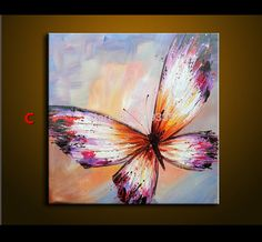 ... Abstract Oil Painting On Canvas Palette Knife Colorful butterfly Painting Modern Home Decor living Room Canvas ...