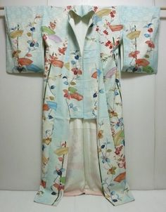 Japanese Kimono Silk Houmongi Light Blue Flowers Dyeing 0117M4 | eBay