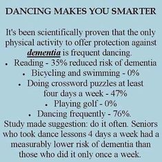 Hmmmm.  I better dance a little bit more.  I can already feel the dementia sneaking in.