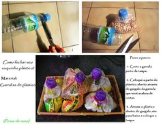 Fechando saco de plástico