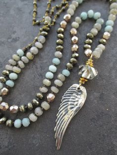 Knotted semi precious stone angel wing necklace by slashKnots