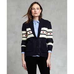•Pendelton Lava Cardigan• •Varsity-sweater inspired and designed specifically for women, with a roomy yet not overwhelming fit. The colors and stripe motif are taken from our vintage National Park blankets. Soft cotton knit is substantial yet cool• Shawl collar• patch pockets. Pendleton Sweaters Cardigans