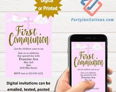 The perfect first communion blush pink party invitations by partyinvitationscom Teacher Retirement Parties, Retirement Party Invitations, Unique Invitations, Digital Invitations, First Communion Party, First Communion Invitations, Pink Parties, Perfect Party, Blush Pink