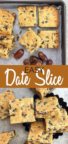 Date Bars - Ridiculously easy sticky date flavoured bars - just melt & mix, then bake - all done in only 40 minutes. This recipe for old fashioned date bars makes a lovely treat the whole family will love. #chefnotrequired #dates #datebars #sweettreat #afternoontea
