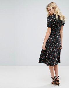ASOS Floral Ditsy Print Midi Tea Dress - Multi