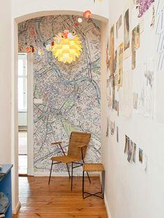 let your hallway appear bigger #hallway #wallpaper #interior design #map