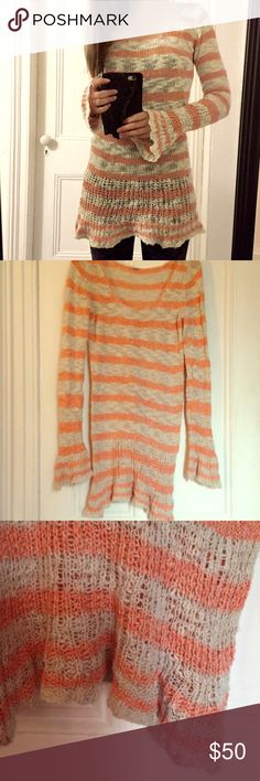 FP Striped Sweater Tunic A coral/orange and oatmeal striped tunic sweater from free people. Size XS. Cute with leggings! Worn once. Free People Sweaters