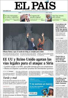 Los Titulares y Portadas de Noticias Destacadas Españolas del 29 de Agosto de 2013 del Diario El País ¿Que le pareció esta Portada de este Diario Español?