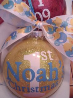 Personalized Baby's First Christmas Glittered by all4mygirlz, $10.99