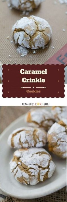 caramel crinkle cookies recipe is easy and looks so impressive on any holiday cookie tray or throughout the year. They are sweet and rich in caramel flavor! Cookie Desserts, Cookie Tray, Just Desserts, Delicious Desserts, Dessert Recipes, Best Cookie Recipes, Sweet Recipes, Holiday Recipes, Easy Recipes