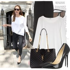 Celebrity Street Style : Angelina Jolie, created by fattie-zara on Polyvore