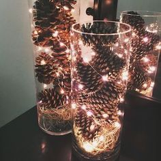 Give your home a warm and cozy rustic makeover with these DIY Christmas decor ideas. There are over a hundred ideas for indoor and outdoor Christmas decorations. From wood finishes and burlap accents to natural elements, your home will be filled with trad Christmas Vases, Elegant Christmas Decor, Diy Christmas Lights, Christmas Wall Art, Outdoor Christmas Decorations, Rustic Christmas, Christmas Home, Christmas Crafts, Christmas Decorations With Pinecones