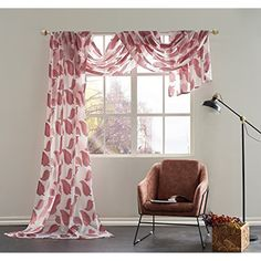 """KEQIAOSUOCAI Semi-Sheer Leaves Embroidery Window Scarf-Elegant Home Decor Window Treatments,52""""X216"""",Red >>> Click on the image for additional details. (This is an affiliate link) #HomeDcor"""